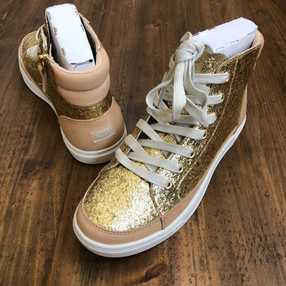 3776d45183b UGG GRADIE GLITTER GOLD FASHION HIGH TOP SNEAKERS